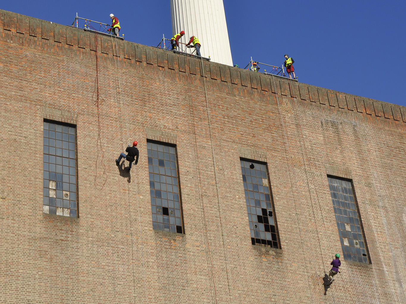 2013: Abseiling off Battersea Power Station to raise money for Cancer Research