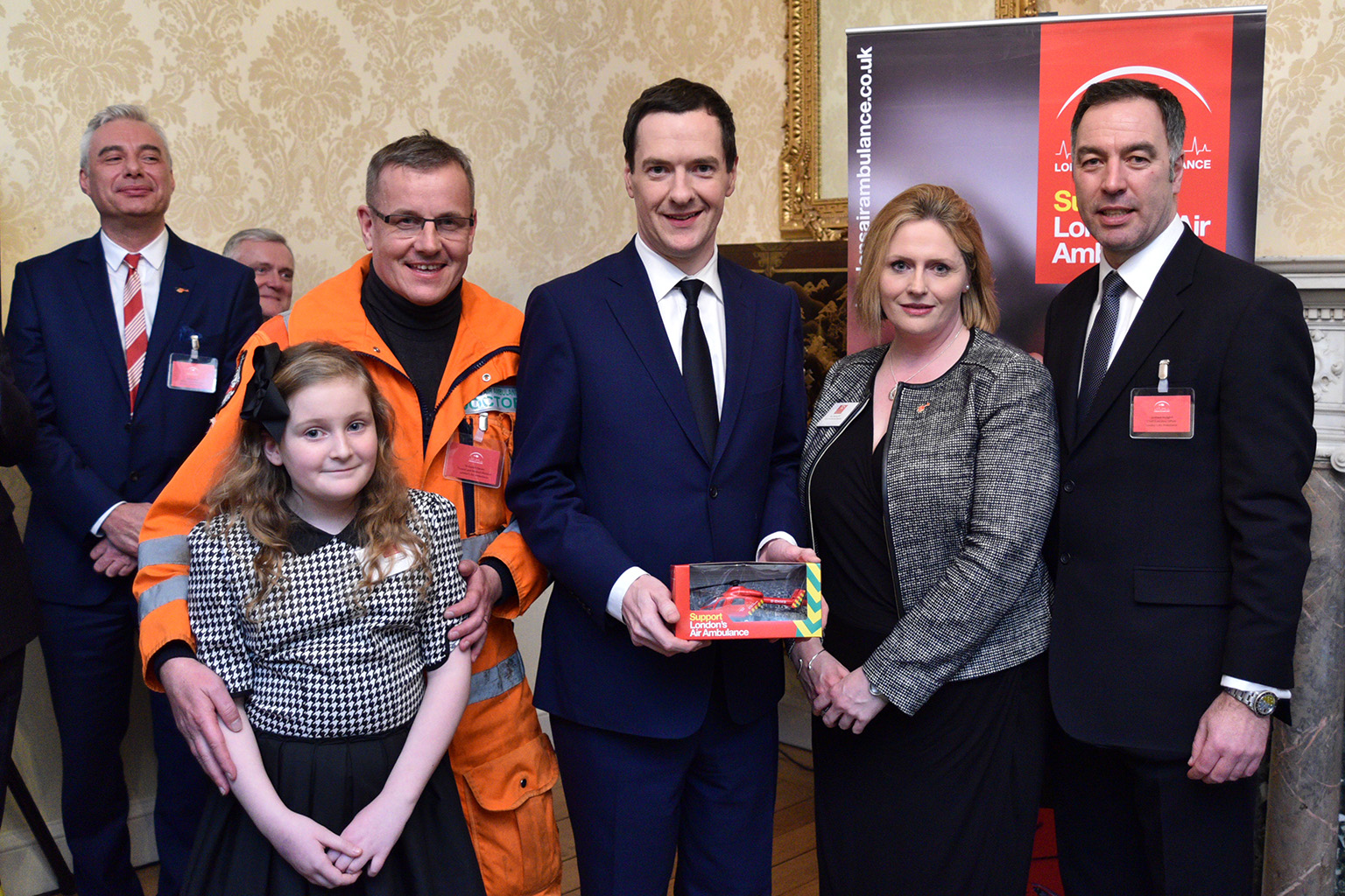Chancellor of the Exchequer, George Osbourne 11 Downing Street London's Air Ambulance