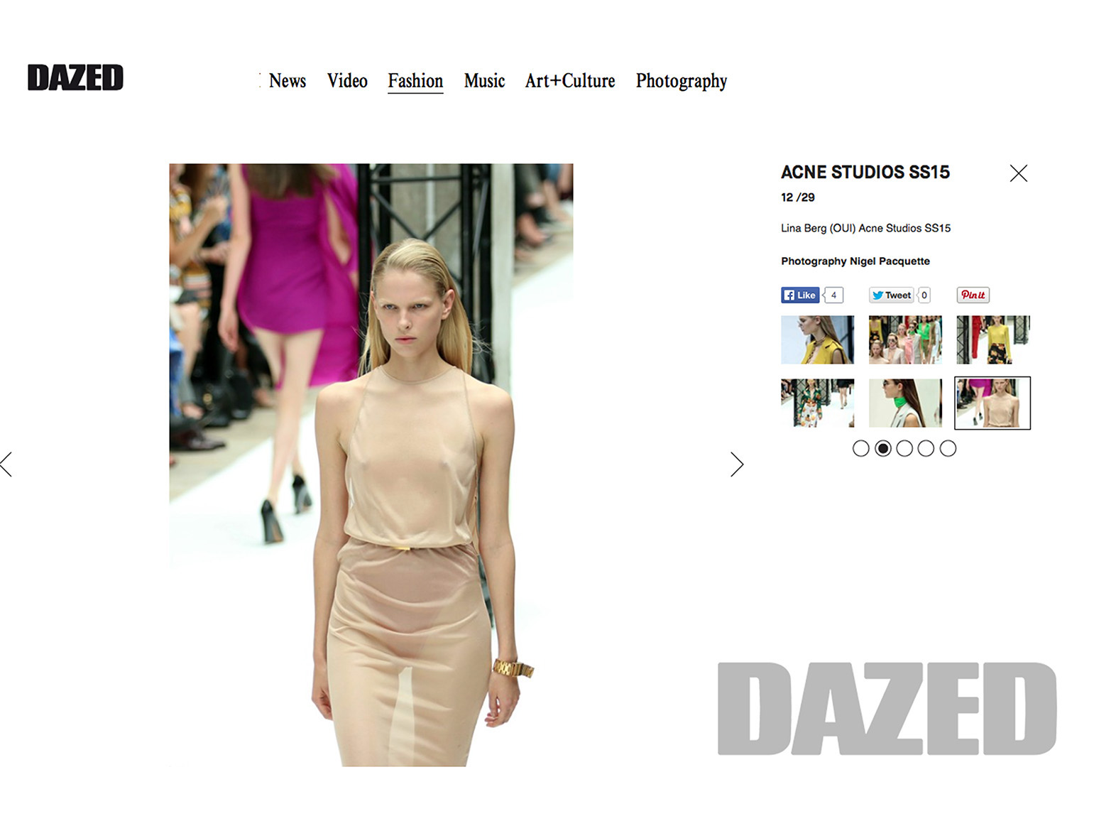 Paris Fashion Week S/S '15 Designer: Acne Studio for Dazed & Confused Magazine